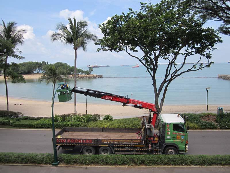 lorry crane with manbasket